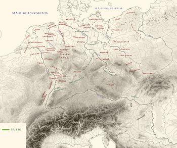 Germanenstämme (rot) nach Ptolemaios zwischen 38 und 3 v. Chr. mit Berücksichtigung der Hermunduren nach Strabon (grün: Suebenstämme). © Landesamt für Denkmalpflege und Archäologie Sachsen-Anhalt.