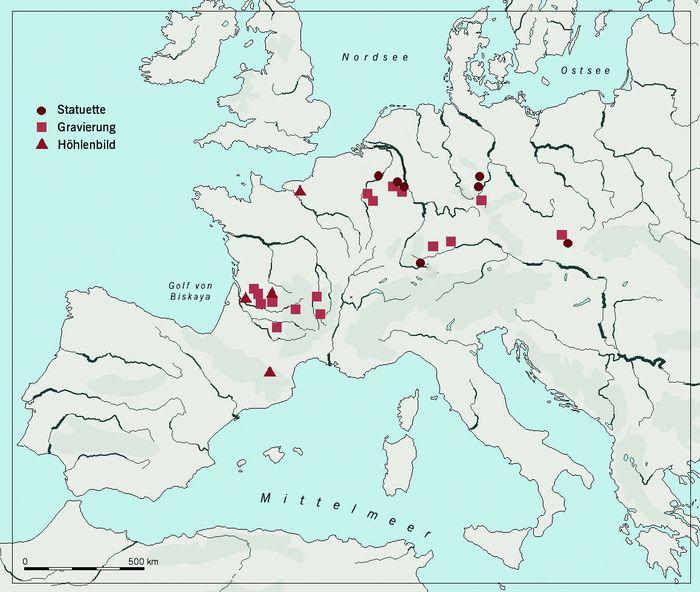 Verbreitung eiszeitlicher Frauenbildnisse in Europa, denen dieselbe Stilisierung wie den Stautetten von Nebra zugrunde liegt. © Landesamt für Denkmalpflege und Archäologie Sachsen-Anhalt, Nora Seeländer.