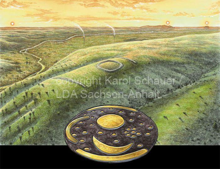 Die Himmelsscheibe als Instrument zur Peilung von Sonnenauf- und -untergängen vom Mittelberg aus. © Landesamt für Denkmalpflege und Archäologie Sachsen-Anhalt, Karol Schauer.