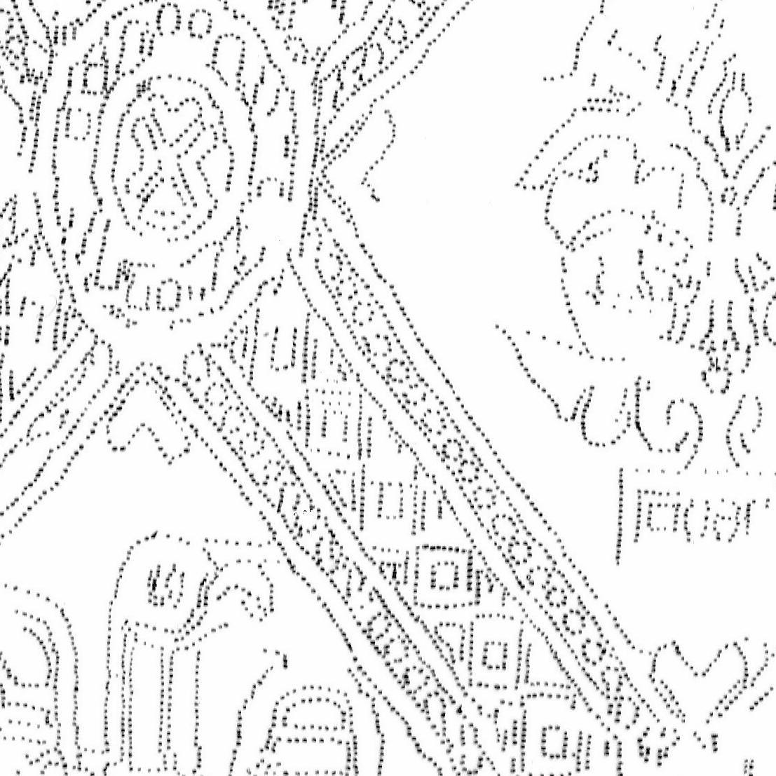 Das rekonstruierte Muster des im ›Block‹ geborgenen Textils. © Landesamt für Denkmalpflege und Archäologie Sachsen-Anhalt, Brigitte Dreyspring.