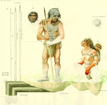 A Neanderthal group on the move reading a track.Women and men contributed equally to the diet. © State Office for Heritage Management and Archaeology Saxony-Anhalt, Karol Schauer.