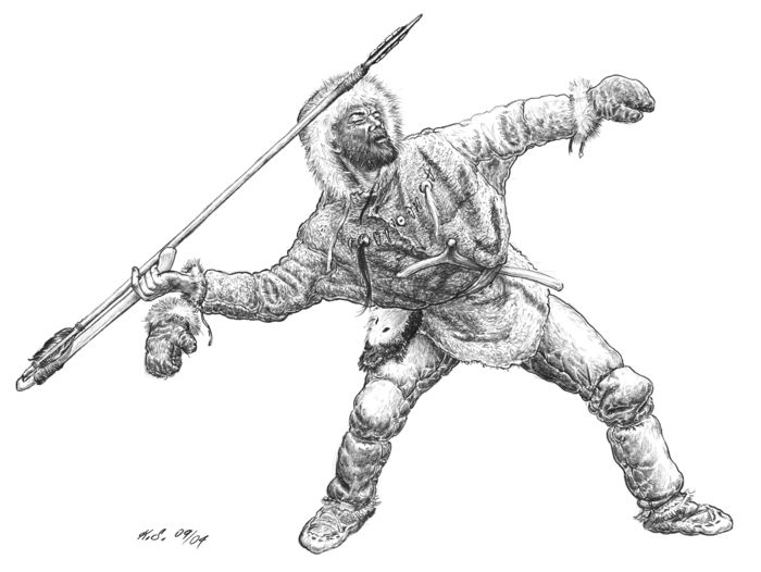 Ice Age hunters with a spear sling: Specialised in hunting reindeer and horses, they developed spears similar to arrows that were thrown directly with sling sticks. © State Office for Heritage Management and Archaeology Saxony-Anhalt, Karol Schauer.