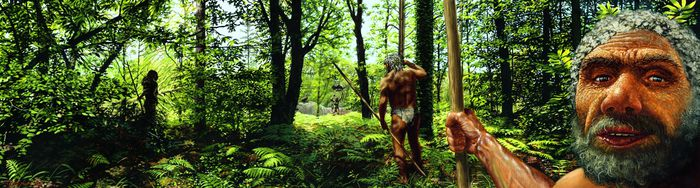 Neandertaler auf der Jagd. © Landesamt für Denkmalpflege und Archäologie Sachsen-Anhalt, Karol Schauer.